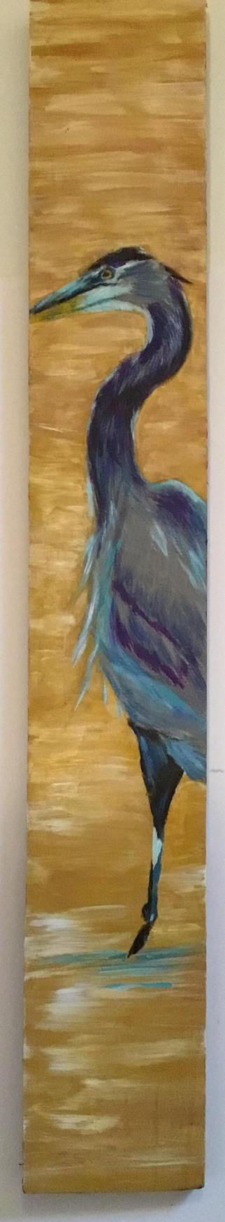 "Juliet Berry ""Blue Herron"" Acrylics on Wood Board"