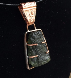 "Bruce Babcock ""Pendant"" Copper and Moldavite Stone"