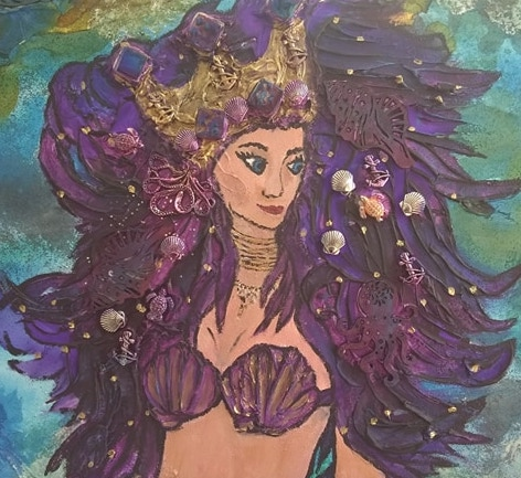 "Dayna R. Lopez ""Queen of the Sea"" Mixed Media on Wood Panel"